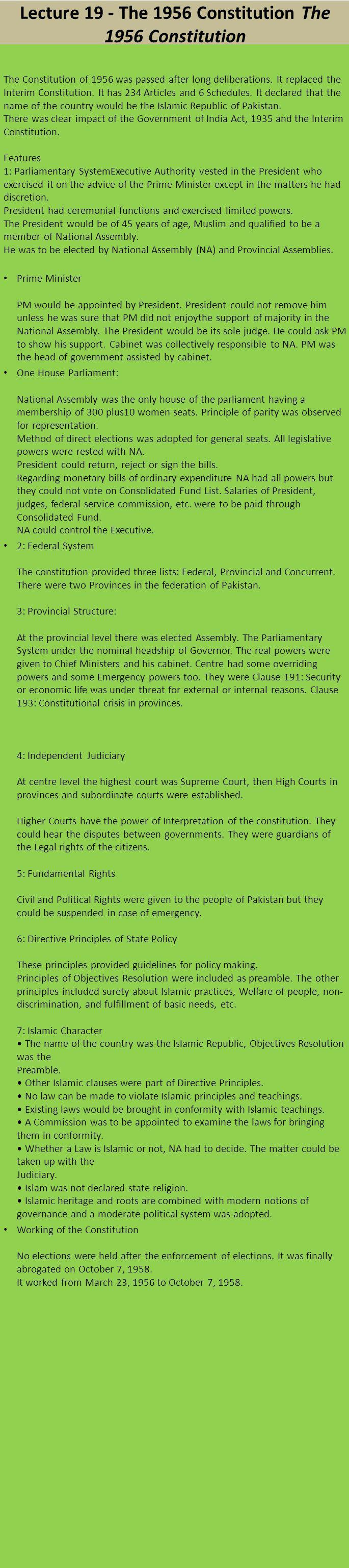 Lecture 19 - The 1956 Constitution The 1956 Constitution The Constitution of 1956 was passed after long deliberations. It replaced the Interim Constit