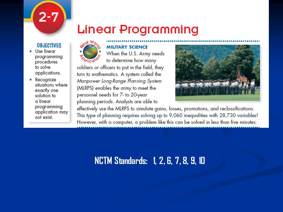 NCTM Standards: 1, 2, 6, 7, 8, 9, 10