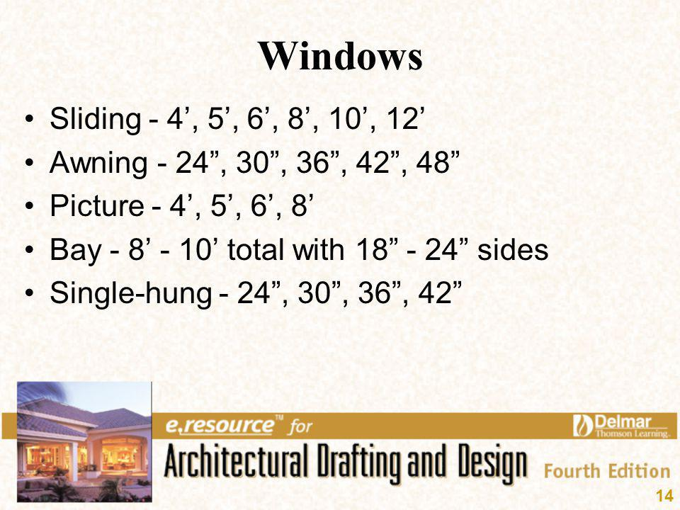 14 Windows Sliding - 4, 5, 6, 8, 10, 12 Awning - 24, 30, 36, 42, 48 Picture - 4, 5, 6, 8 Bay - 8 - 10 total with 18 - 24 sides Single-hung - 24, 30, 3