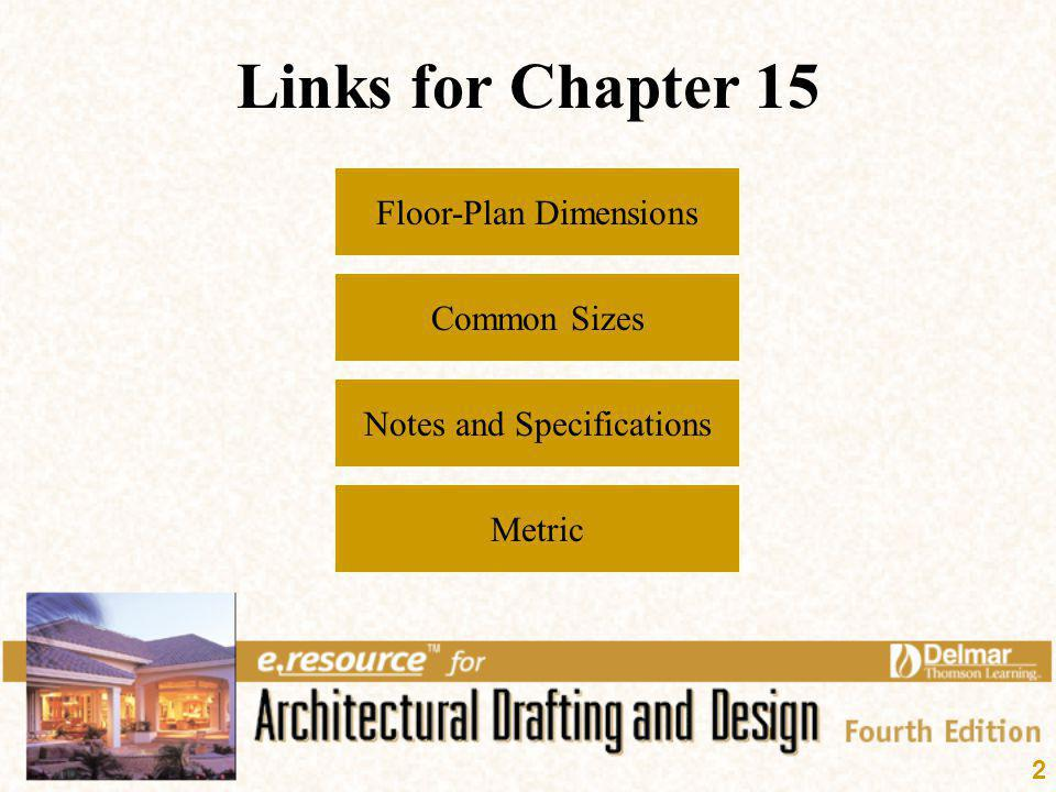 2 Links for Chapter 15 Floor-Plan Dimensions Common Sizes Metric Notes and Specifications