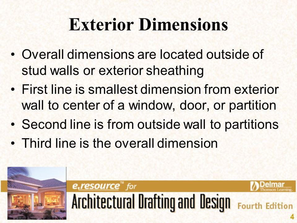 4 Exterior Dimensions Overall dimensions are located outside of stud walls or exterior sheathing First line is smallest dimension from exterior wall t
