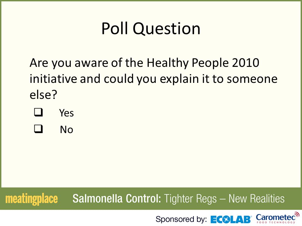 Poll Question Are you aware of the Healthy People 2010 initiative and could you explain it to someone else.