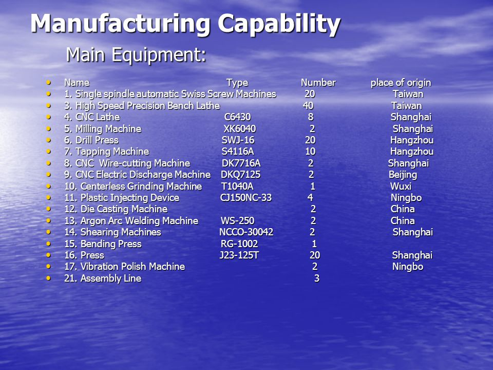 Manufacturing Capability Main Equipment: Name Type Number place of origin Name Type Number place of origin 1.