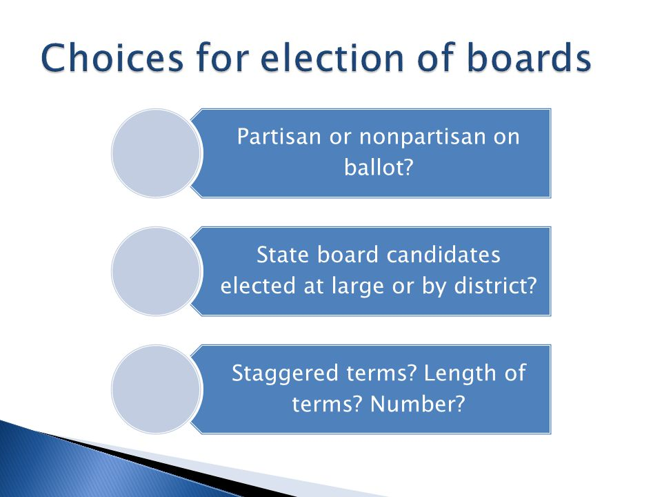 Partisan or nonpartisan on ballot. State board candidates elected at large or by district.