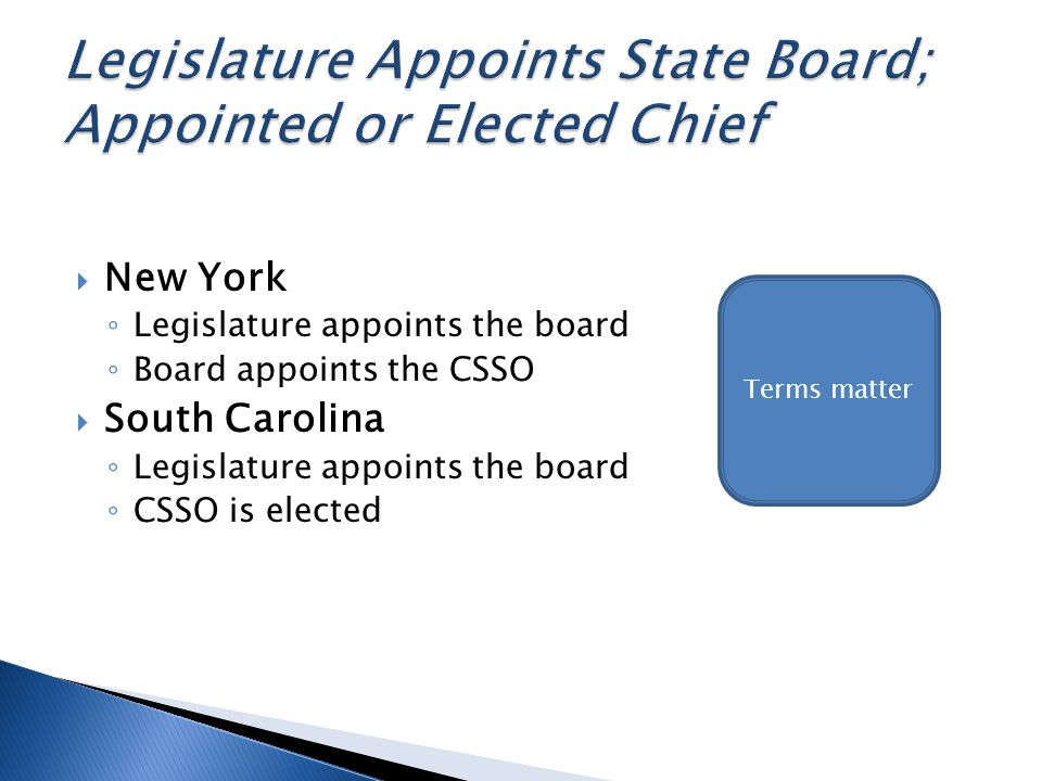 New York Legislature appoints the board Board appoints the CSSO South Carolina Legislature appoints the board CSSO is elected Terms matter