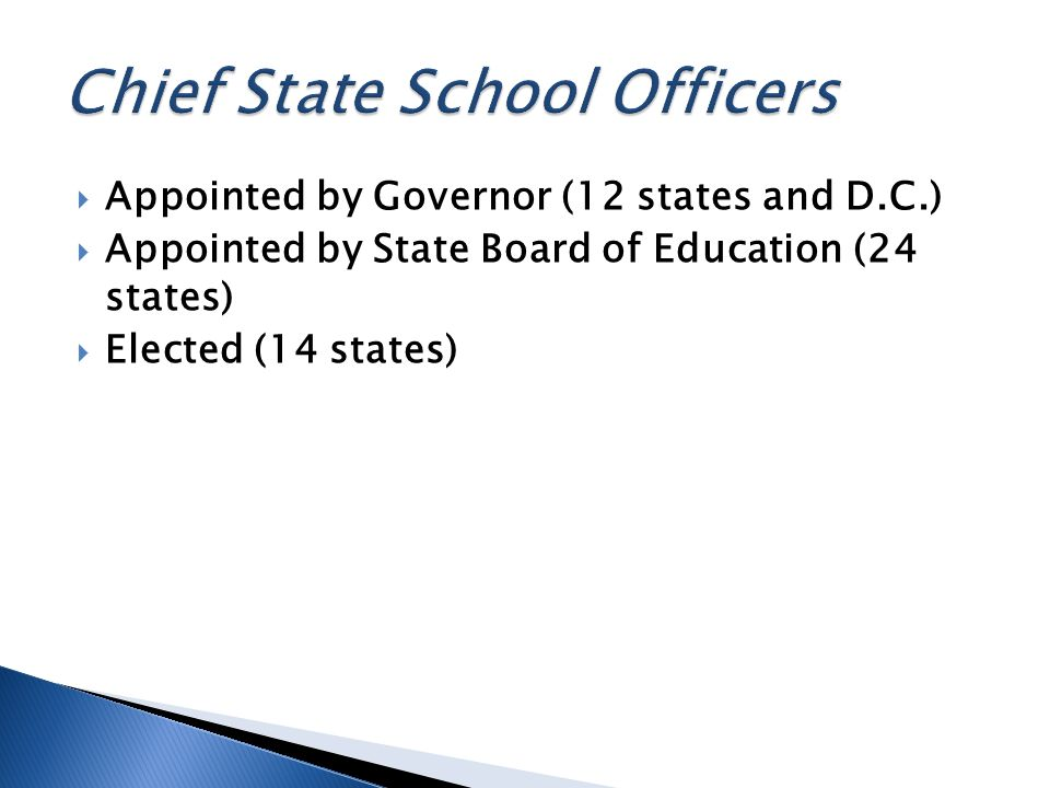 Appointed by Governor (12 states and D.C.) Appointed by State Board of Education (24 states) Elected (14 states)