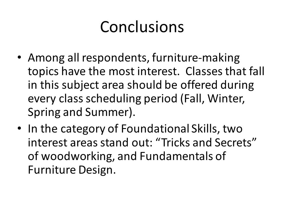 Conclusions Among all respondents, furniture-making topics have the most interest.