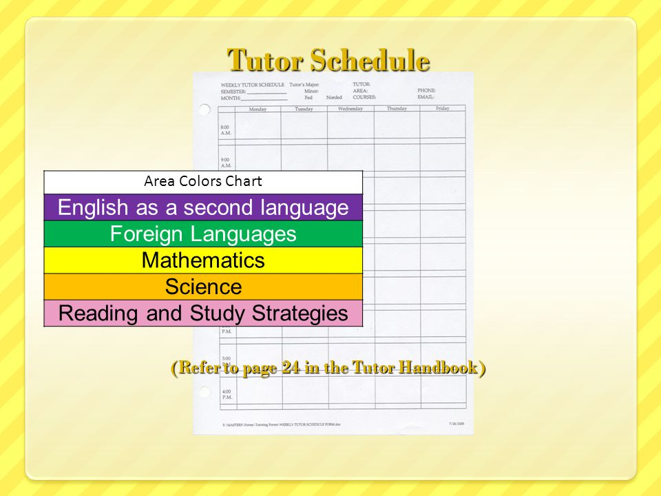 Tutor Schedule (Refer to page 24 in the Tutor Handbook) Area Colors Chart English as a second language Foreign Languages Mathematics Science Reading a