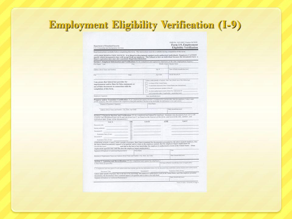 Employment Eligibility Verification (I-9)