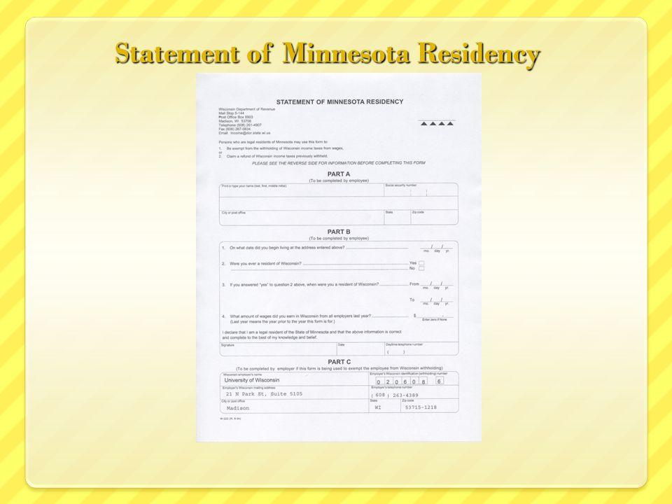 Statement of Minnesota Residency