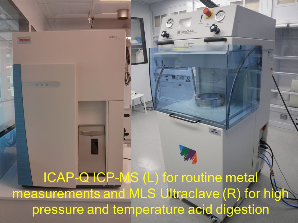 The autosamplers for the ICP-MS instruments are housed in Class 100, metal-free, laminar flow clean air cabinets