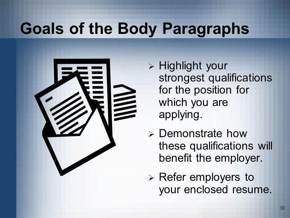 30 Goals of the Body Paragraphs Highlight your strongest qualifications for the position for which you are applying. Demonstrate how these qualificati