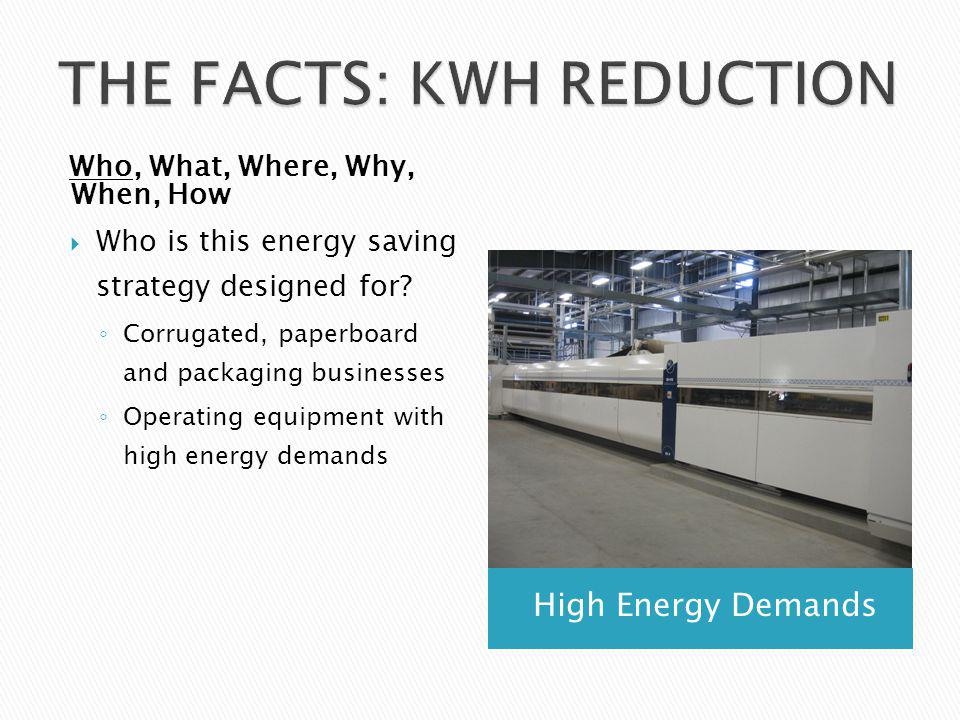 High Energy Demands Who, What, Where, Why, When, How Who is this energy saving strategy designed for.