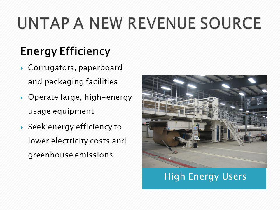 High Energy Users Energy Efficiency Corrugators, paperboard and packaging facilities Operate large, high-energy usage equipment Seek energy efficiency to lower electricity costs and greenhouse emissions