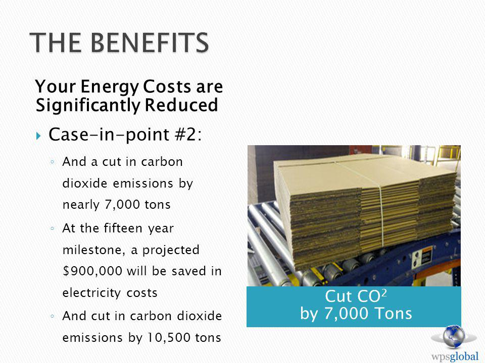 Cut CO 2 by 7,000 Tons Your Energy Costs are Significantly Reduced Case-in-point #2: And a cut in carbon dioxide emissions by nearly 7,000 tons At the fifteen year milestone, a projected $900,000 will be saved in electricity costs And cut in carbon dioxide emissions by 10,500 tons