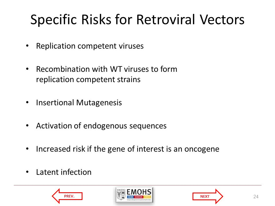 Specific Risks for Retroviral Vectors Replication competent viruses Recombination with WT viruses to form replication competent strains Insertional Mutagenesis Activation of endogenous sequences Increased risk if the gene of interest is an oncogene Latent infection 24