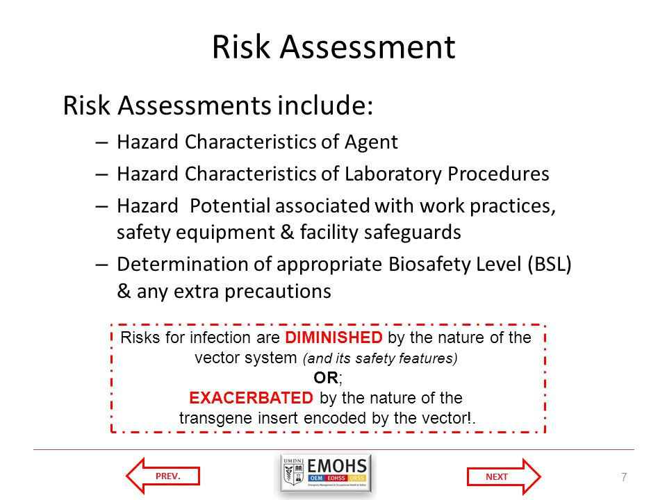 Risk Assessment 7 Risk Assessments include: – Hazard Characteristics of Agent – Hazard Characteristics of Laboratory Procedures – Hazard Potential associated with work practices, safety equipment & facility safeguards – Determination of appropriate Biosafety Level (BSL) & any extra precautions Risks for infection are DIMINISHED by the nature of the vector system (and its safety features) OR; EXACERBATED by the nature of the transgene insert encoded by the vector!.