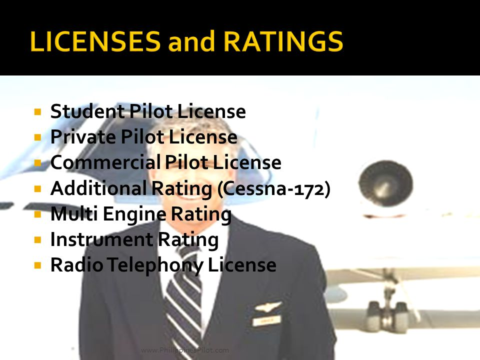 Student Pilot License Private Pilot License Commercial Pilot License Additional Rating (Cessna-172) Multi Engine Rating Instrument Rating Radio Teleph