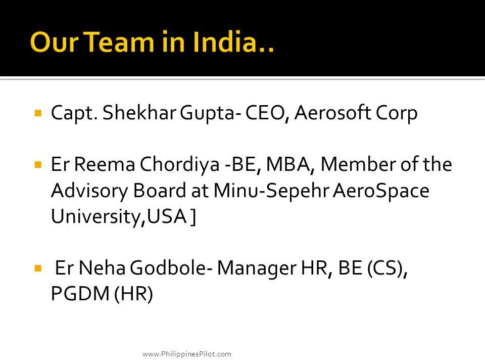 Capt. Shekhar Gupta- CEO, Aerosoft Corp Er Reema Chordiya -BE, MBA, Member of the Advisory Board at Minu-Sepehr AeroSpace University,USA ] Er Neha God