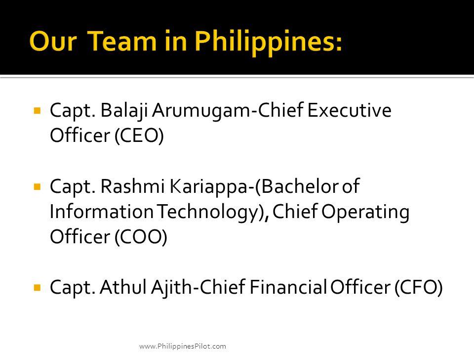 Capt. Balaji Arumugam-Chief Executive Officer (CEO) Capt. Rashmi Kariappa-(Bachelor of Information Technology), Chief Operating Officer (COO) Capt. At