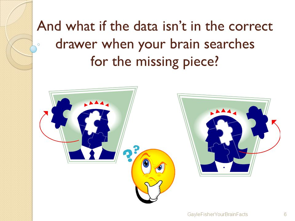 GayleFisherYourBrainFacts6 And what if the data isnt in the correct drawer when your brain searches for the missing piece