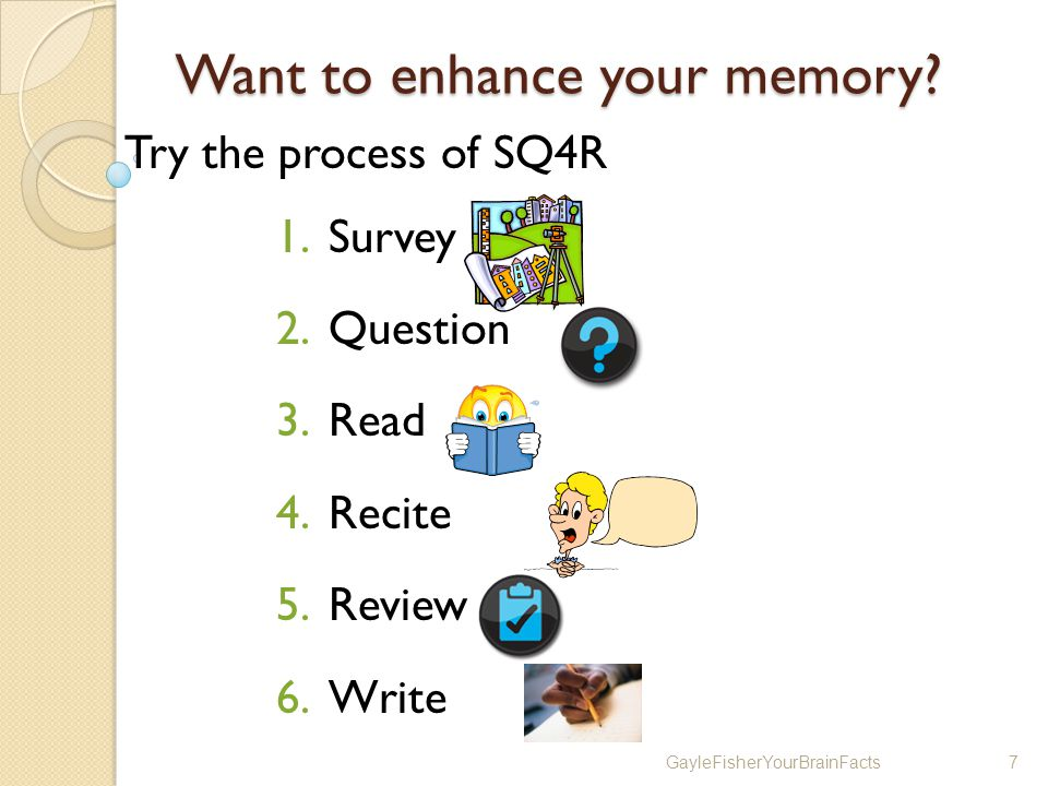 GayleFisherYourBrainFacts7 Want to enhance your memory.