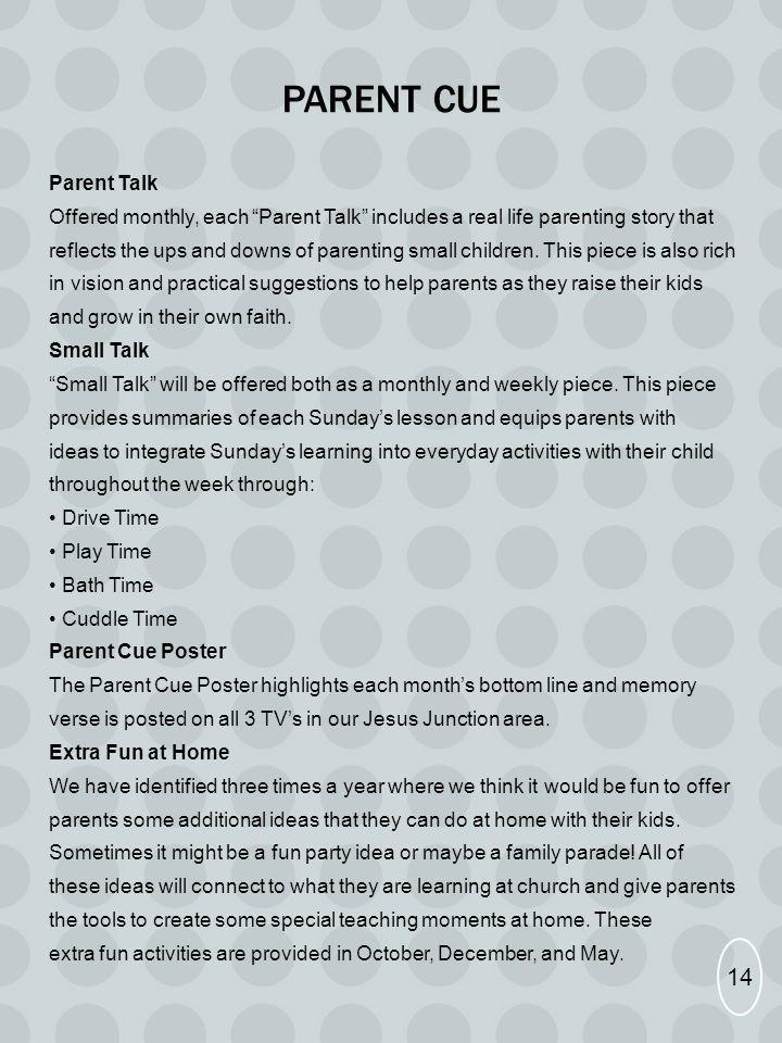 PARENT CUE Parent Talk Offered monthly, each Parent Talk includes a real life parenting story that reflects the ups and downs of parenting small child