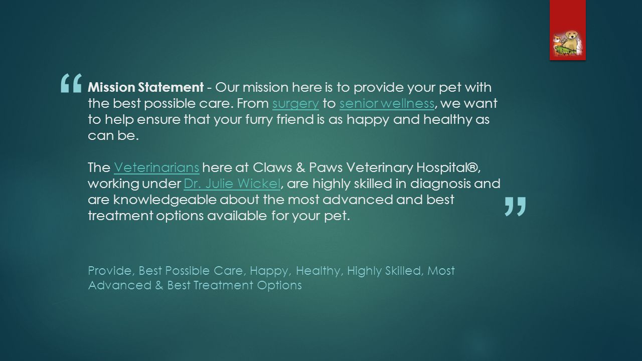 Mission Statement - Our mission here is to provide your pet with the best possible care.