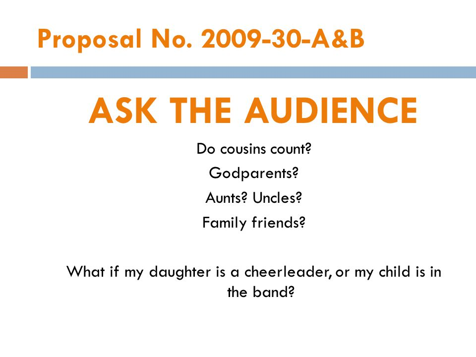 Proposal No. 2009-30-A&B ASK THE AUDIENCE Do cousins count.