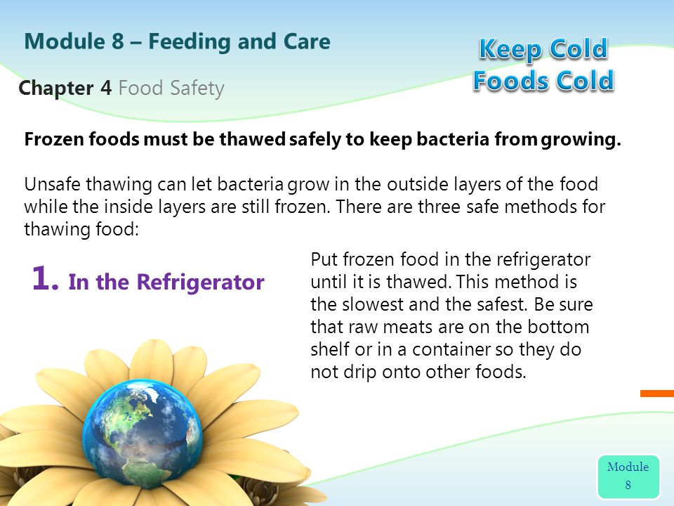 1. In the Refrigerator Frozen foods must be thawed safely to keep bacteria from growing. Unsafe thawing can let bacteria grow in the outside layers of
