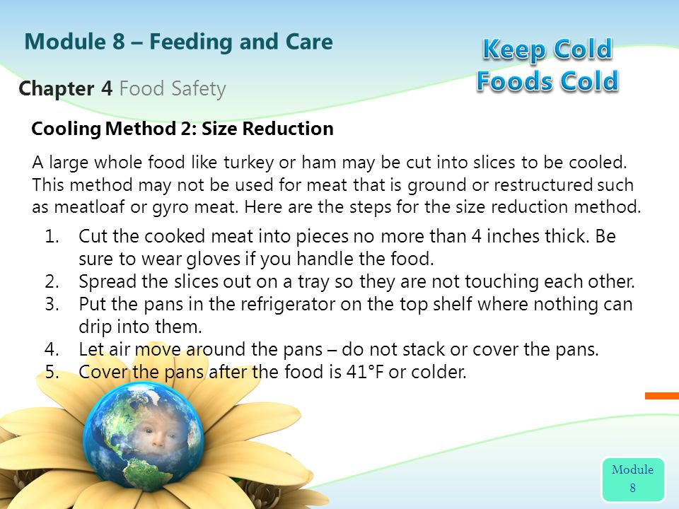 A large whole food like turkey or ham may be cut into slices to be cooled. This method may not be used for meat that is ground or restructured such as