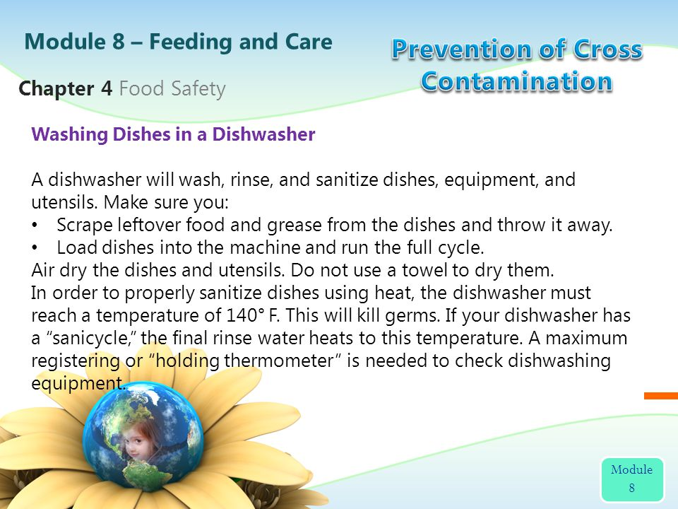 Washing Dishes in a Dishwasher A dishwasher will wash, rinse, and sanitize dishes, equipment, and utensils. Make sure you: Scrape leftover food and gr