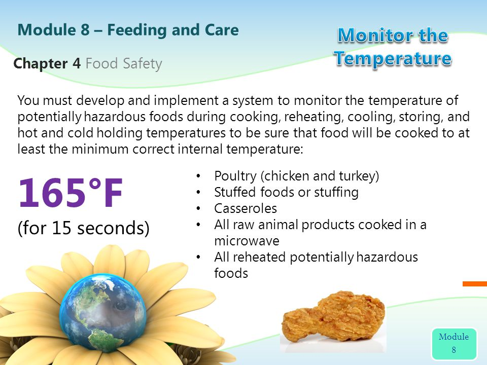You must develop and implement a system to monitor the temperature of potentially hazardous foods during cooking, reheating, cooling, storing, and hot and cold holding temperatures to be sure that food will be cooked to at least the minimum correct internal temperature: Module 8 – Feeding and Care Module 8 Chapter 4 Food Safety 165°F (for 15 seconds) Poultry (chicken and turkey) Stuffed foods or stuffing Casseroles All raw animal products cooked in a microwave All reheated potentially hazardous foods