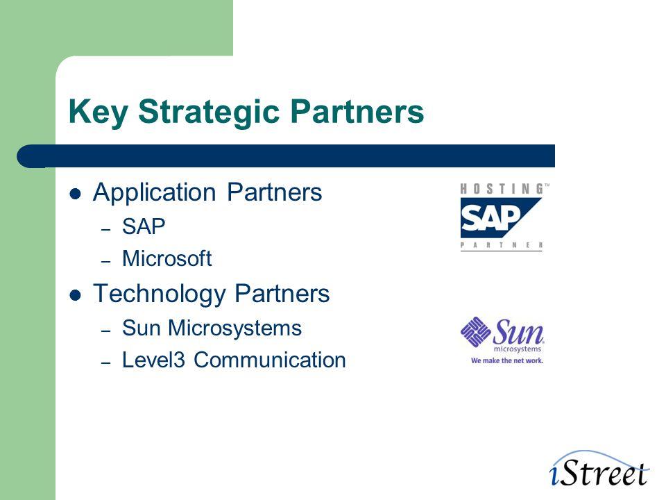 Key Strategic Partners Application Partners – SAP – Microsoft Technology Partners – Sun Microsystems – Level3 Communication