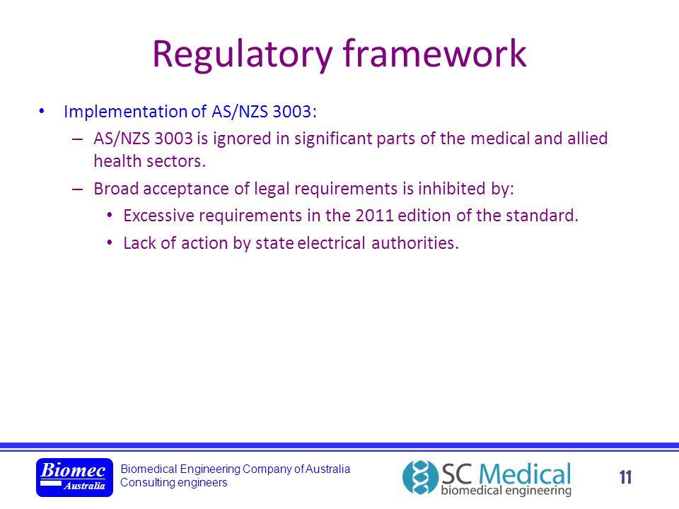 Biomedical Engineering Company of Australia Consulting engineers Biomec Australia 11 Regulatory framework Implementation of AS/NZS 3003: – AS/NZS 3003