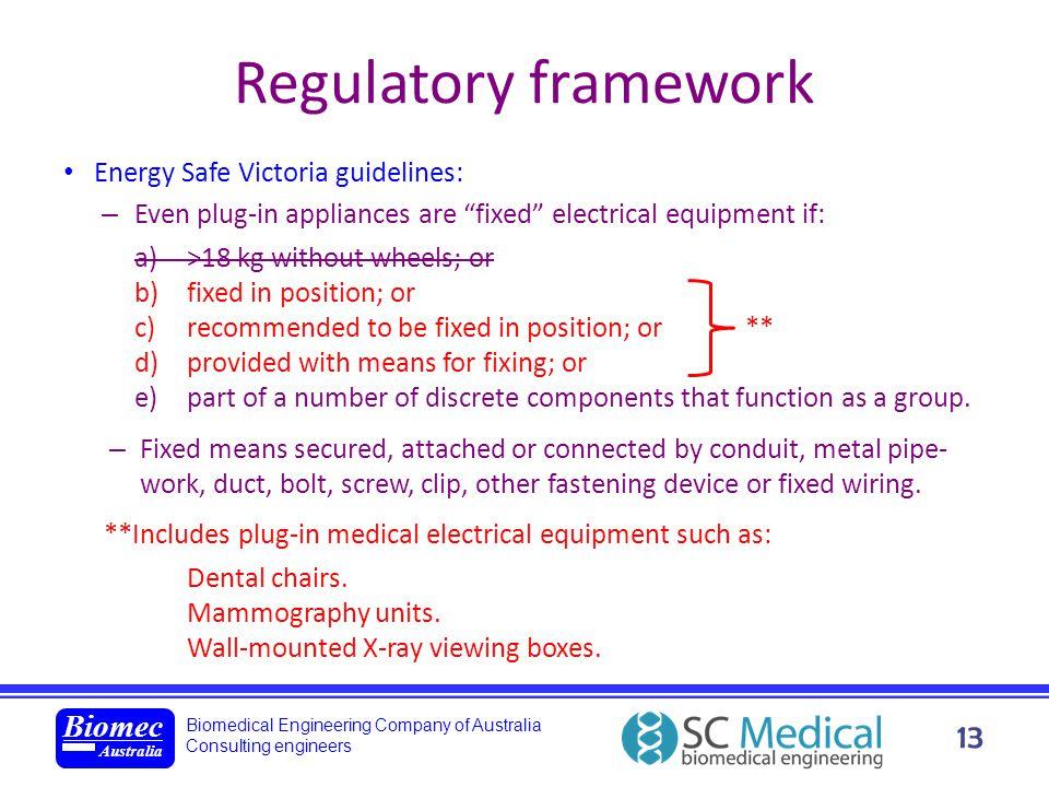 Biomedical Engineering Company of Australia Consulting engineers Biomec Australia 13 Regulatory framework Energy Safe Victoria guidelines: – Even plug