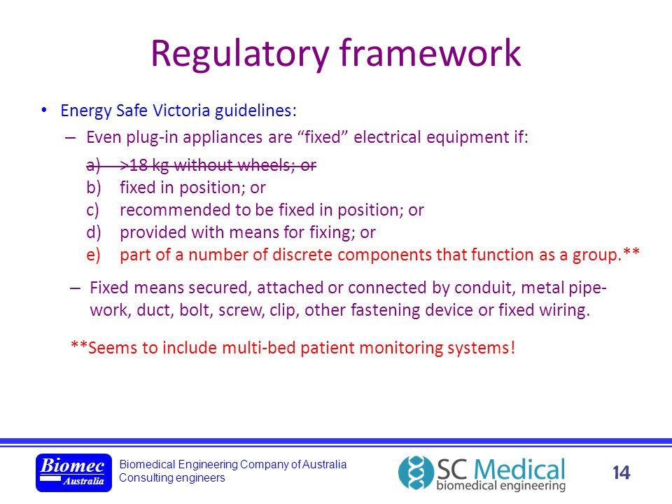 Biomedical Engineering Company of Australia Consulting engineers Biomec Australia 14 Regulatory framework Energy Safe Victoria guidelines: – Even plug