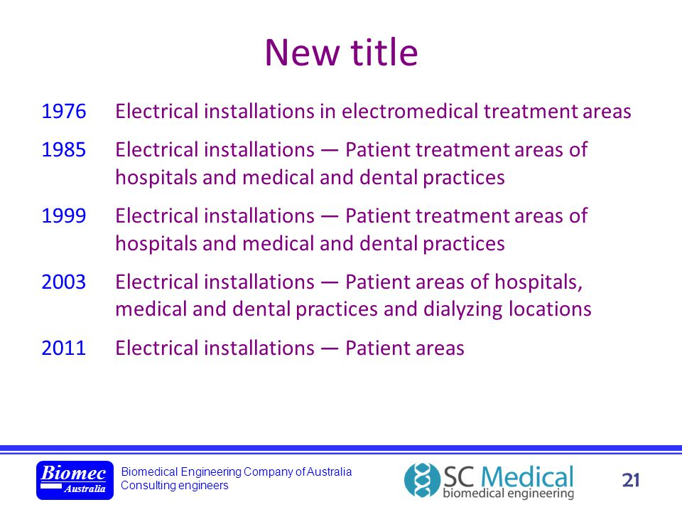 Biomedical Engineering Company of Australia Consulting engineers Biomec Australia 21 New title 1976 Electrical installations in electromedical treatme
