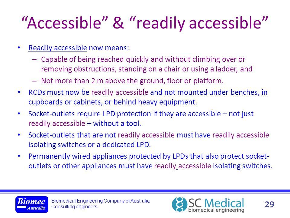 Biomedical Engineering Company of Australia Consulting engineers Biomec Australia 29 Accessible & readily accessible Readily accessible now means: – C