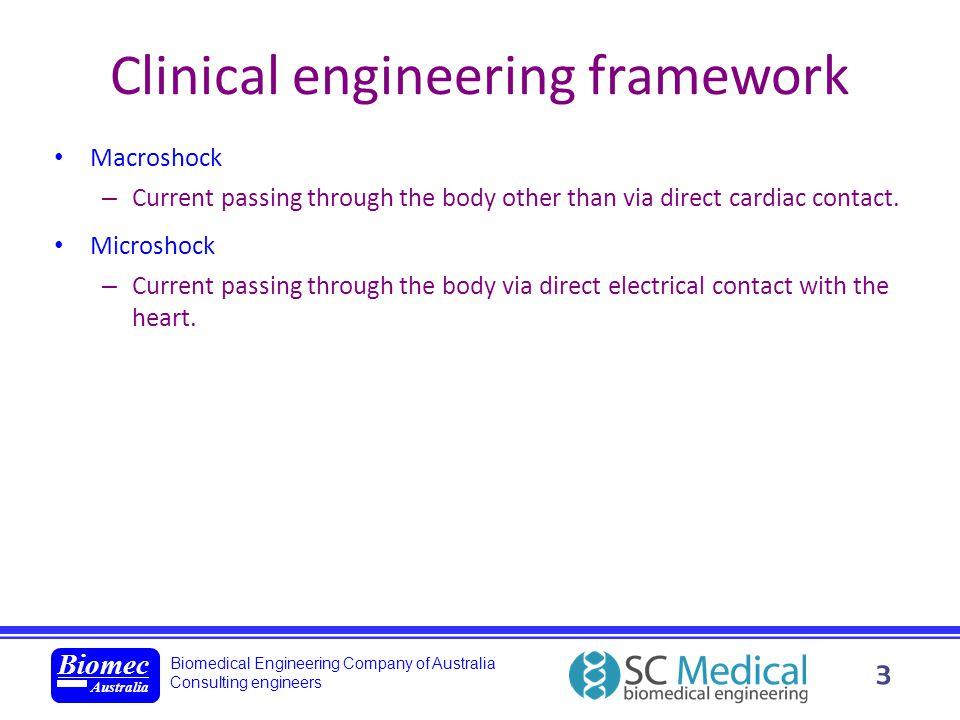 Biomedical Engineering Company of Australia Consulting engineers Biomec Australia 3 Clinical engineering framework Macroshock – Current passing throug