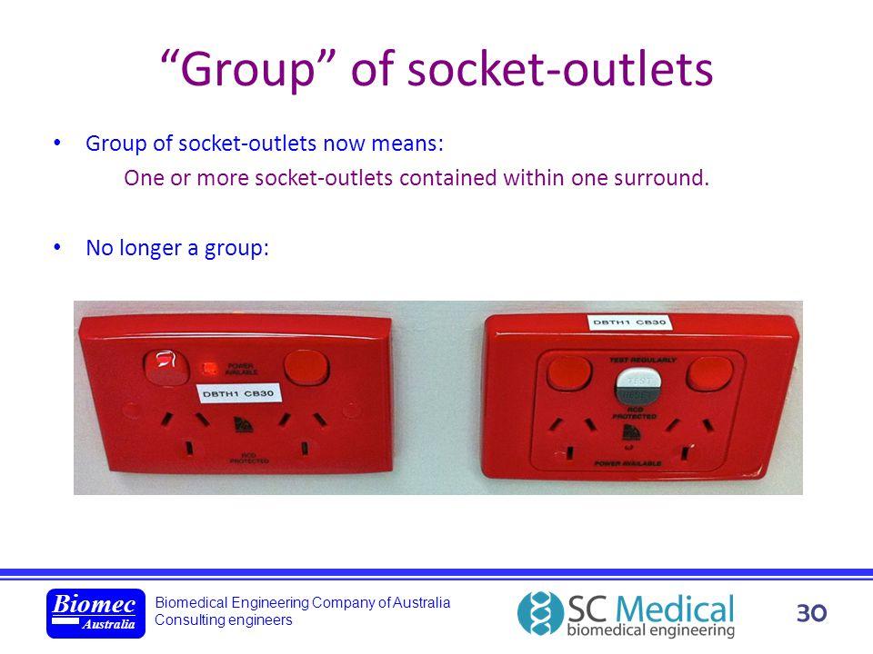 Biomedical Engineering Company of Australia Consulting engineers Biomec Australia 30 Group of socket-outlets Group of socket-outlets now means: One or