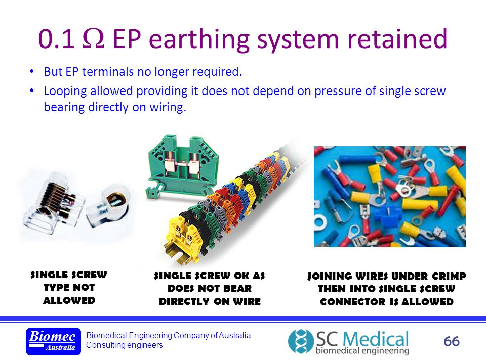 Biomedical Engineering Company of Australia Consulting engineers Biomec Australia 66 0.1 EP earthing system retained But EP terminals no longer requir