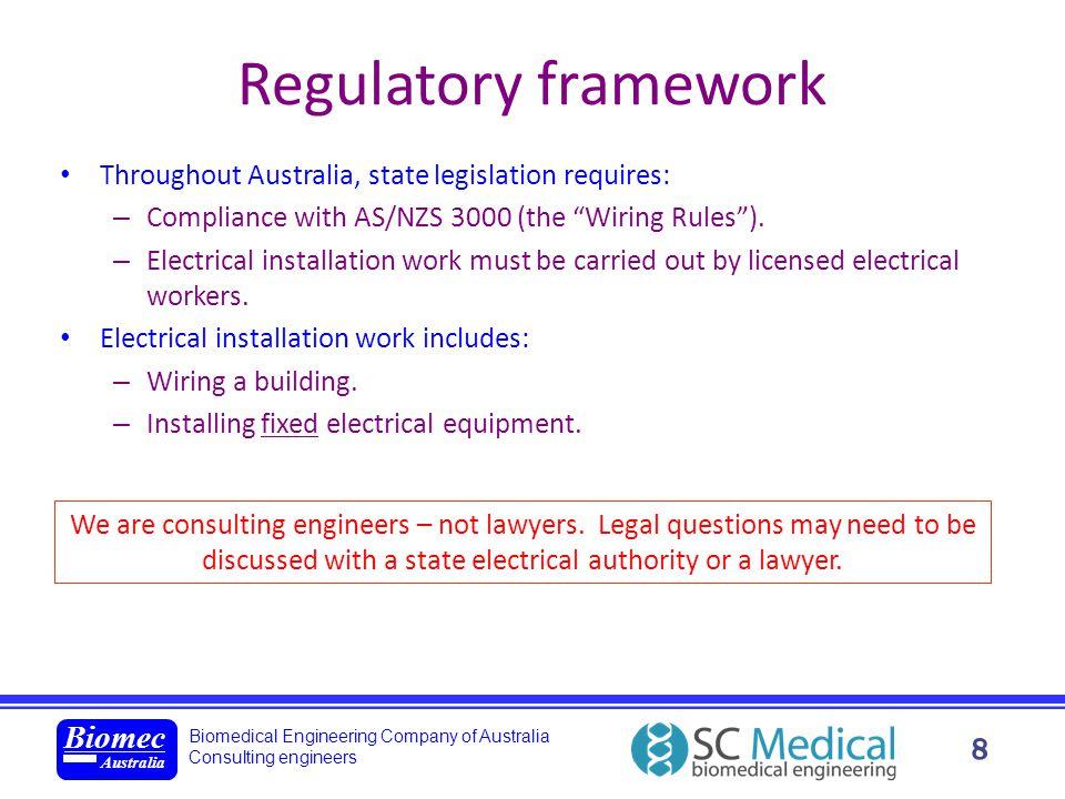 Biomedical Engineering Company of Australia Consulting engineers Biomec Australia 8 Regulatory framework Throughout Australia, state legislation requi