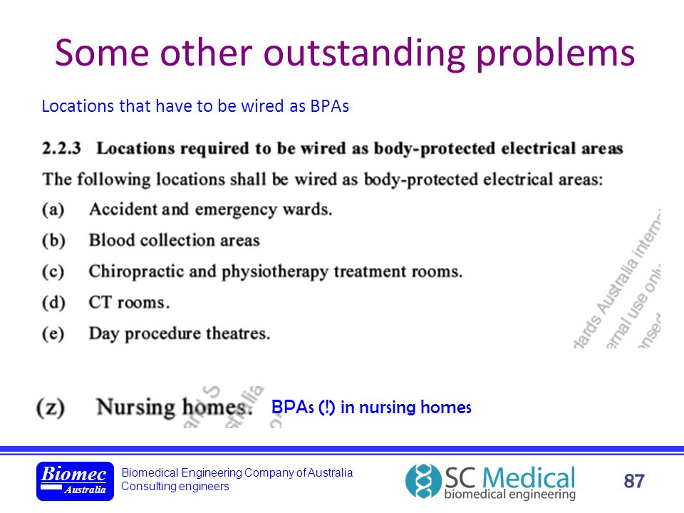 Biomedical Engineering Company of Australia Consulting engineers Biomec Australia 87 Some other outstanding problems Locations that have to be wired a