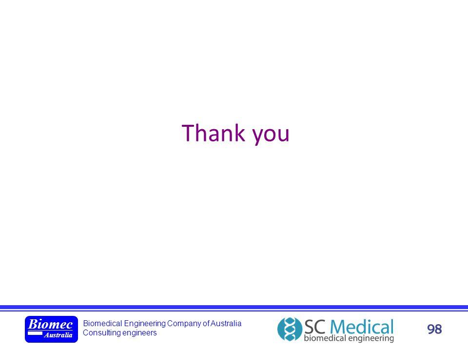 Biomedical Engineering Company of Australia Consulting engineers Biomec Australia 98 Thank you