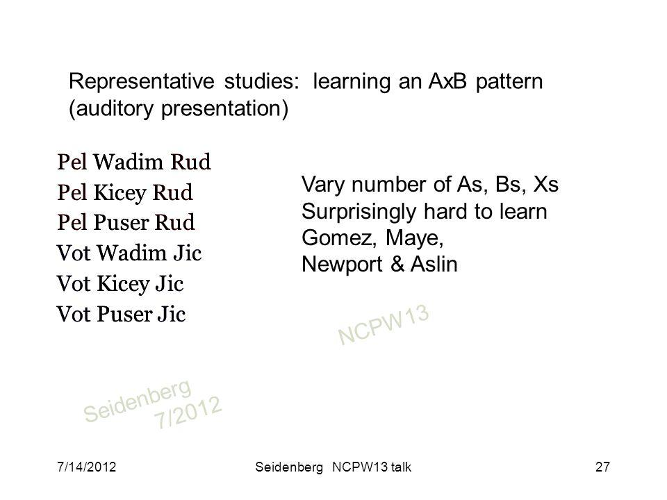 SeidenbergNCPW13 7/2012 Pel Wadim Rud Pel Kicey Rud Pel Puser Rud Vot Wadim Jic Vot Kicey Jic Vot Puser Jic Vary number of As, Bs, Xs Surprisingly hard to learn Gomez, Maye, Newport & Aslin Representative studies: learning an AxB pattern (auditory presentation) Pel Wadim Rud Pel Kicey Rud Pel Puser Rud Vot Wadim Jic Vot Kicey Jic Vot Puser Jic 7/14/2012Seidenberg NCPW13 talk27