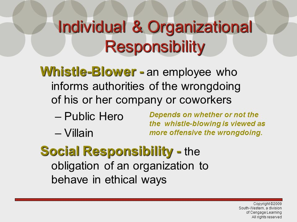 Copyright ©2009 South-Western, a division of Cengage Learning All rights reserved Individual & Organizational Responsibility Whistle-Blower - Whistle-