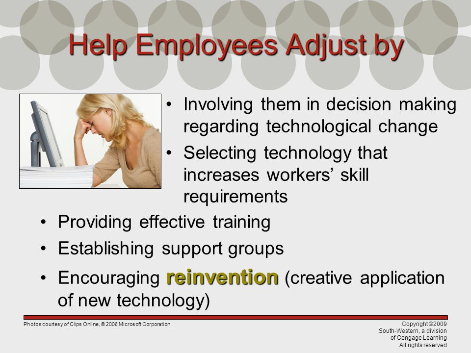 Copyright ©2009 South-Western, a division of Cengage Learning All rights reserved Help Employees Adjust by Involving them in decision making regarding