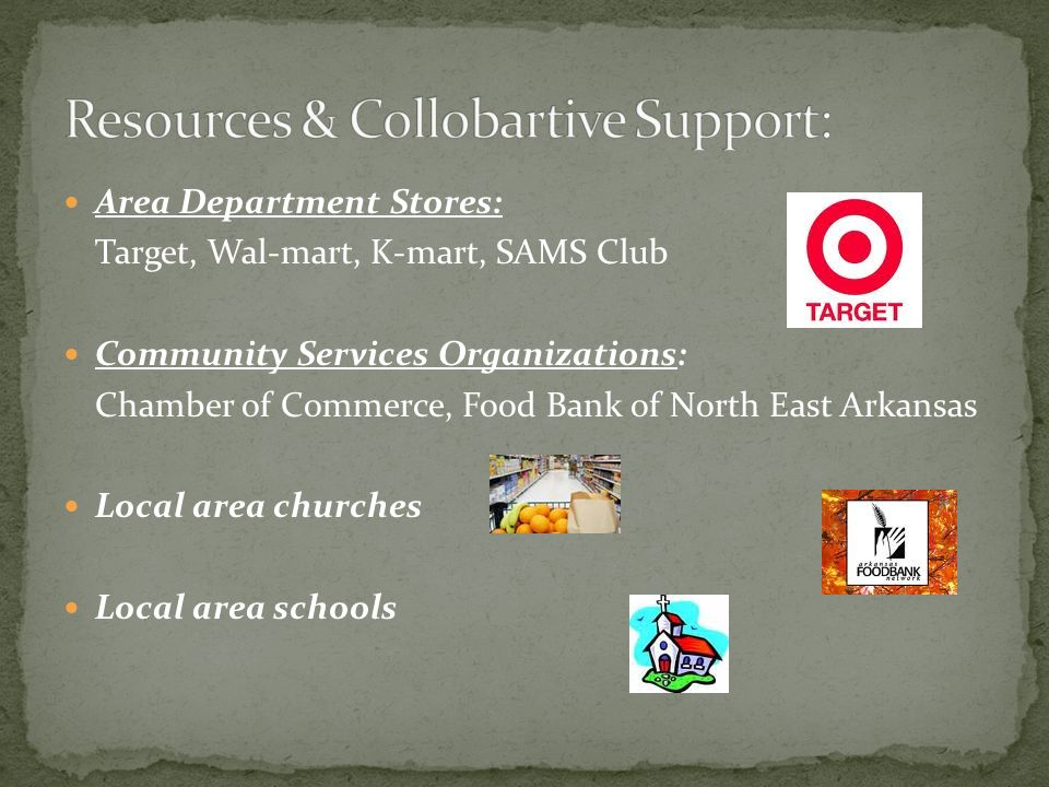 Area Department Stores: Target, Wal-mart, K-mart, SAMS Club Community Services Organizations: Chamber of Commerce, Food Bank of North East Arkansas Local area churches Local area schools
