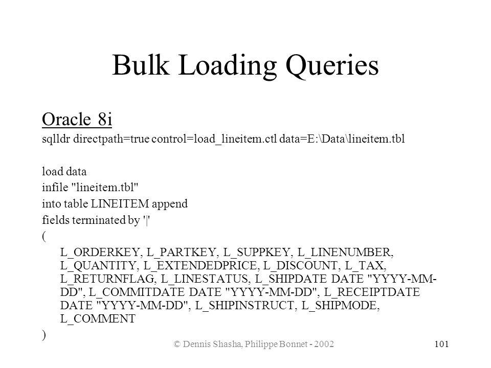 © Dennis Shasha, Philippe Bonnet - 2002101 Bulk Loading Queries Oracle 8i sqlldr directpath=true control=load_lineitem.ctl data=E:\Data\lineitem.tbl l